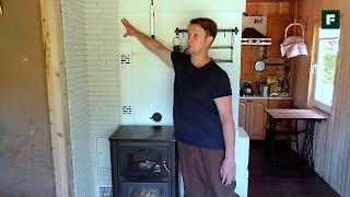 Тепловой щиток  из кирпича с печью-камином