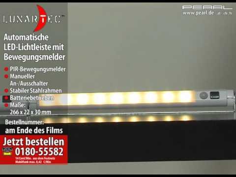 Lunartec Automatische LED-Lichtleiste mit Bewegungsmelder, warmweiß ...