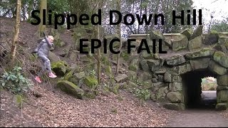 Slip Accident Fail and Falls Down Hill - EPIC FAIL - Caught on Camera - Blonde slips down hill