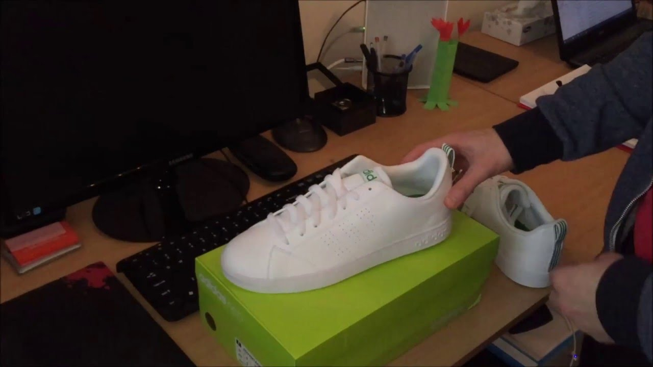 sale retailer e8e3f 35e87  UNBOXING  adidas NEO Advantage Clean VS White Green (F99251)