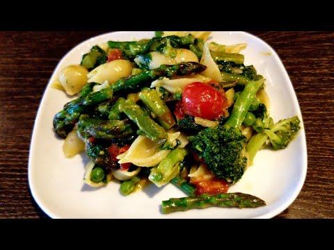 My 5 a day pasta | Vegan | Asparagus, Green Bean, Broccoli, Spinach & Cherry Tomato Pesto Pasta