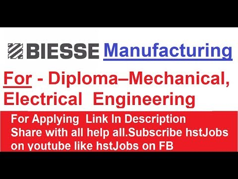 Biesse Manufacturing Recruitment 2018  Trainee Diploma Mechanical, Electrical Engineering hst jobs