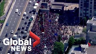 Drivers abandon cars on Toronto highway to watch parade
