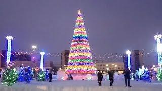 Магнитогорск, площадь народных гуляний, Куранты, ледяной городок, новогодняя Ёлка (29.12.18)