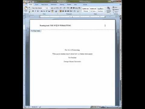APA Format For Cover Pages And Abstracts YouTube