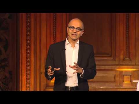 Satya Nadella CEO Microsoft Bold Ambitions Paris Sorbonne HD