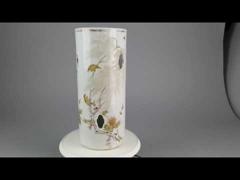 Antique Chinese Hatstand vase. Bird Winter Scene. Ca 1900 Late Qing or Republic