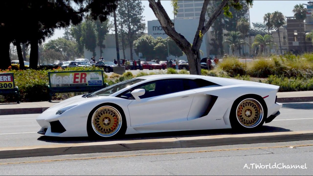 Lowrider Rims And Tires >> WHAT ARE THOSE?! Lamborghini Aventador on Gold HRE Rims & Sound - YouTube