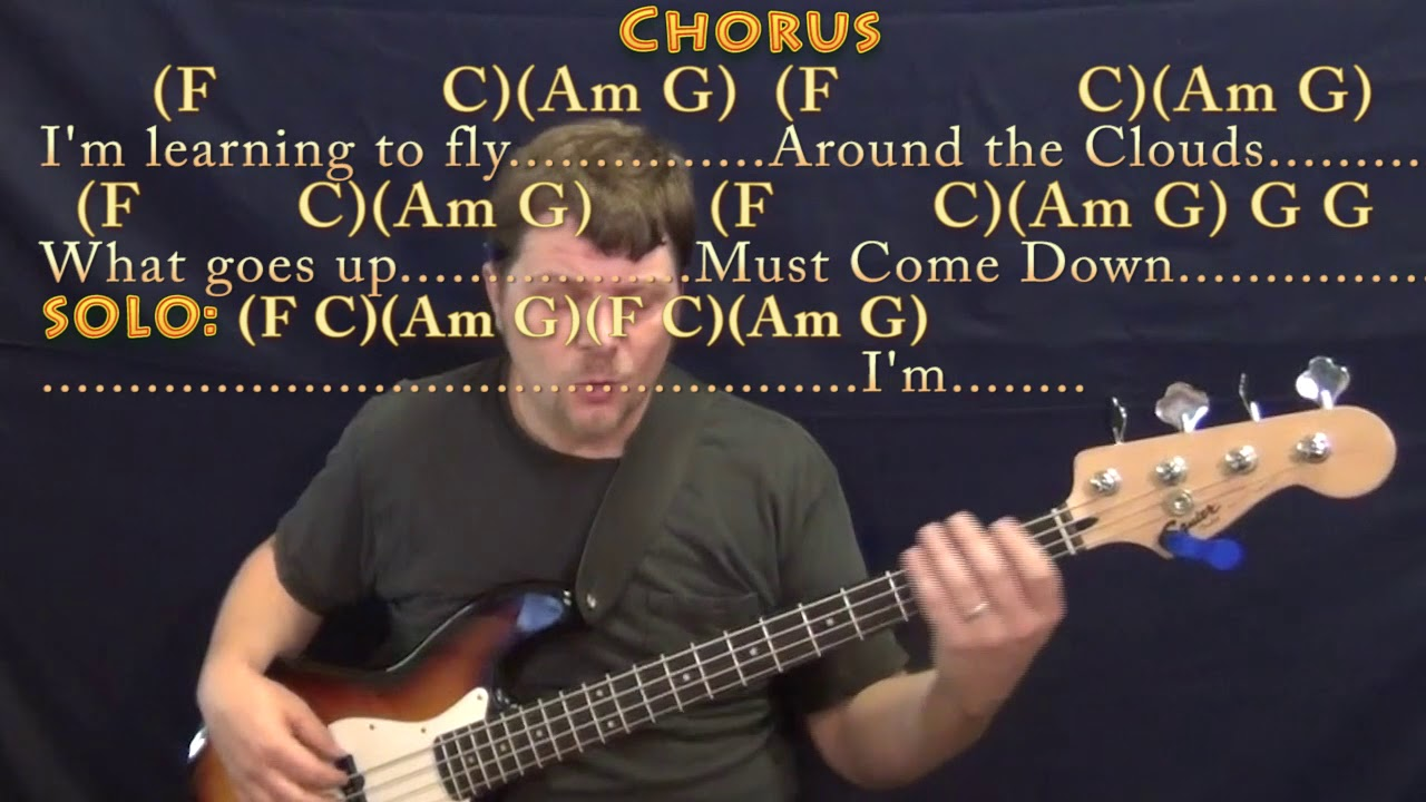 Learning To Fly Tom Petty Bass Guitar Cover Lesson In C With