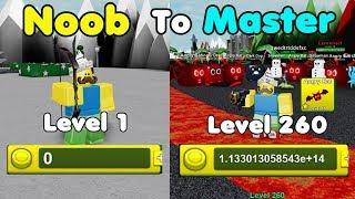 Noob To Master! 100 Billionen Münzen! Stufe 260! Entsperrt alle Bereiche! - Pew Pew Simulator Roblox