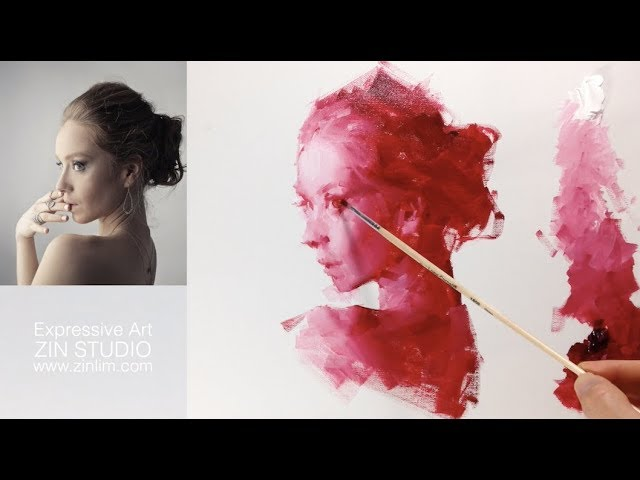 👨🎨Red mono: Oil Painting Portrait Demo.