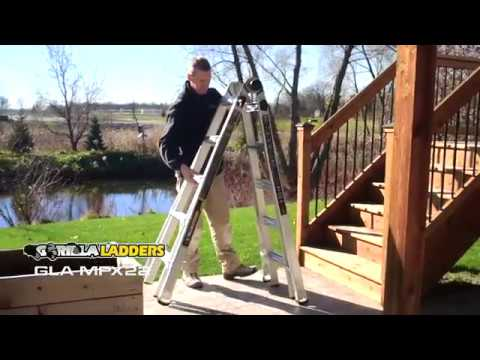 Gorilla Ladders 22 ft  MPX Aluminum Multi-Position Ladder with 375 lb  Load  Capacity