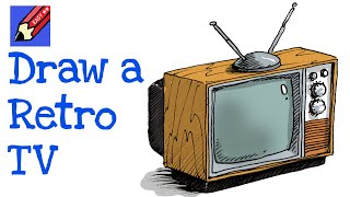 How to Draw a Retro TV Real Easy - Step by Step