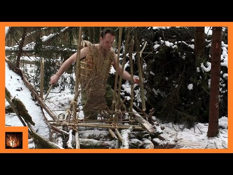 BUSHCRAFT TRIP - Winter Camping, Shelter Building, Clay Fireplace, Underground Heating System