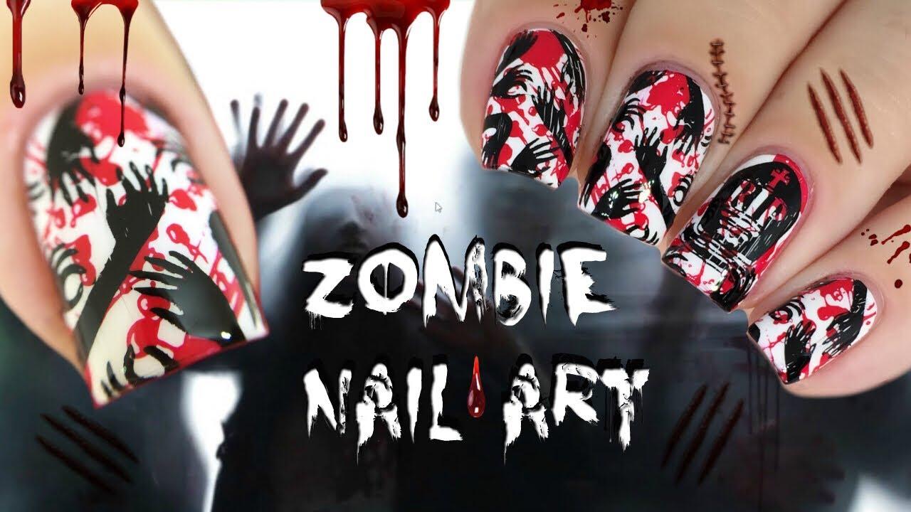 EASY DIY BLOOD SPLATTER HALLOWEEN NAIL ART TUTORIAL - YouTube