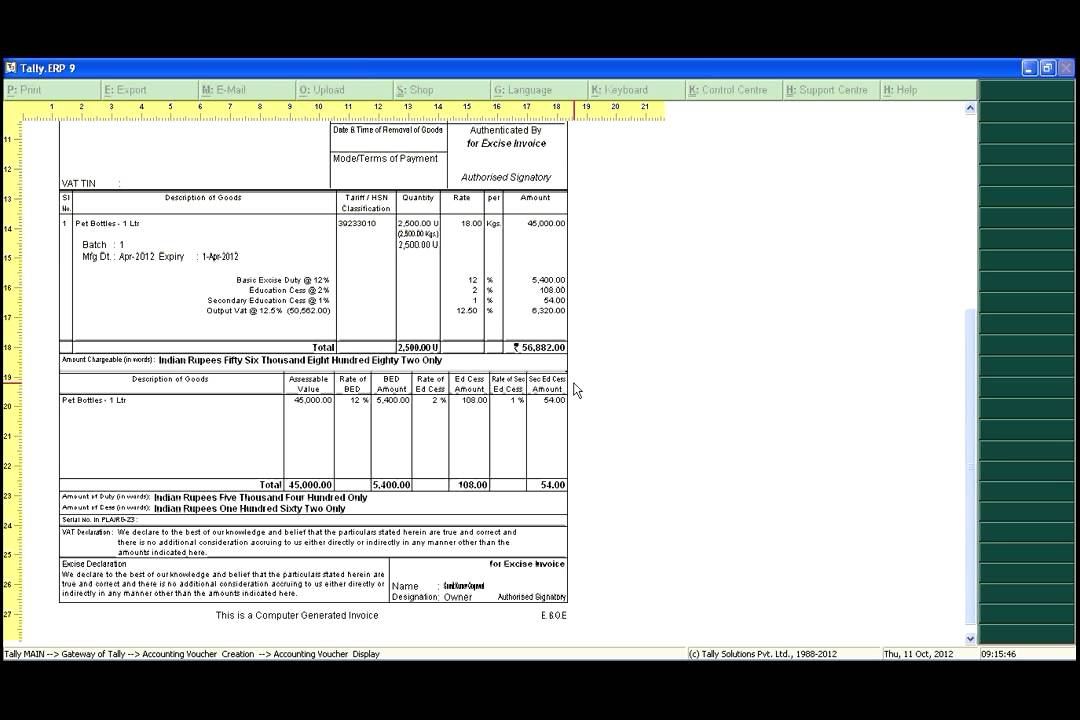 Commercial Invoice Format Pdf How To Create Excise Invoice In Tally  Xvid   Youtube Sme Invoice Finance Ltd Pdf with Certified Return Receipt Cost How To Create Excise Invoice In Tally  Xvid  Pre Invoice Template Excel