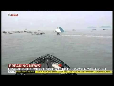 Sky News Breaking: 338 Passengers Rescued from Sinking South Korean Ferry