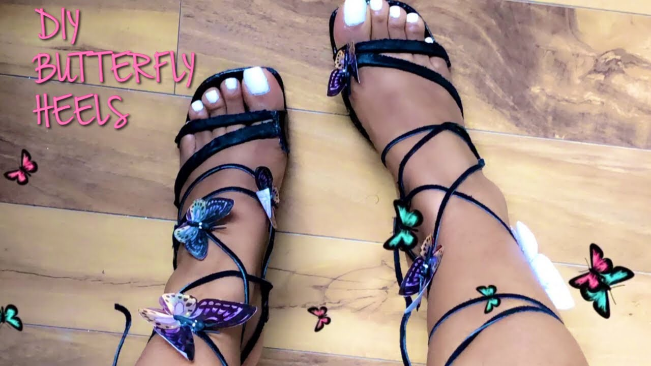 DIY BUTTERFLY LACE UP HEELS | THRIFTED