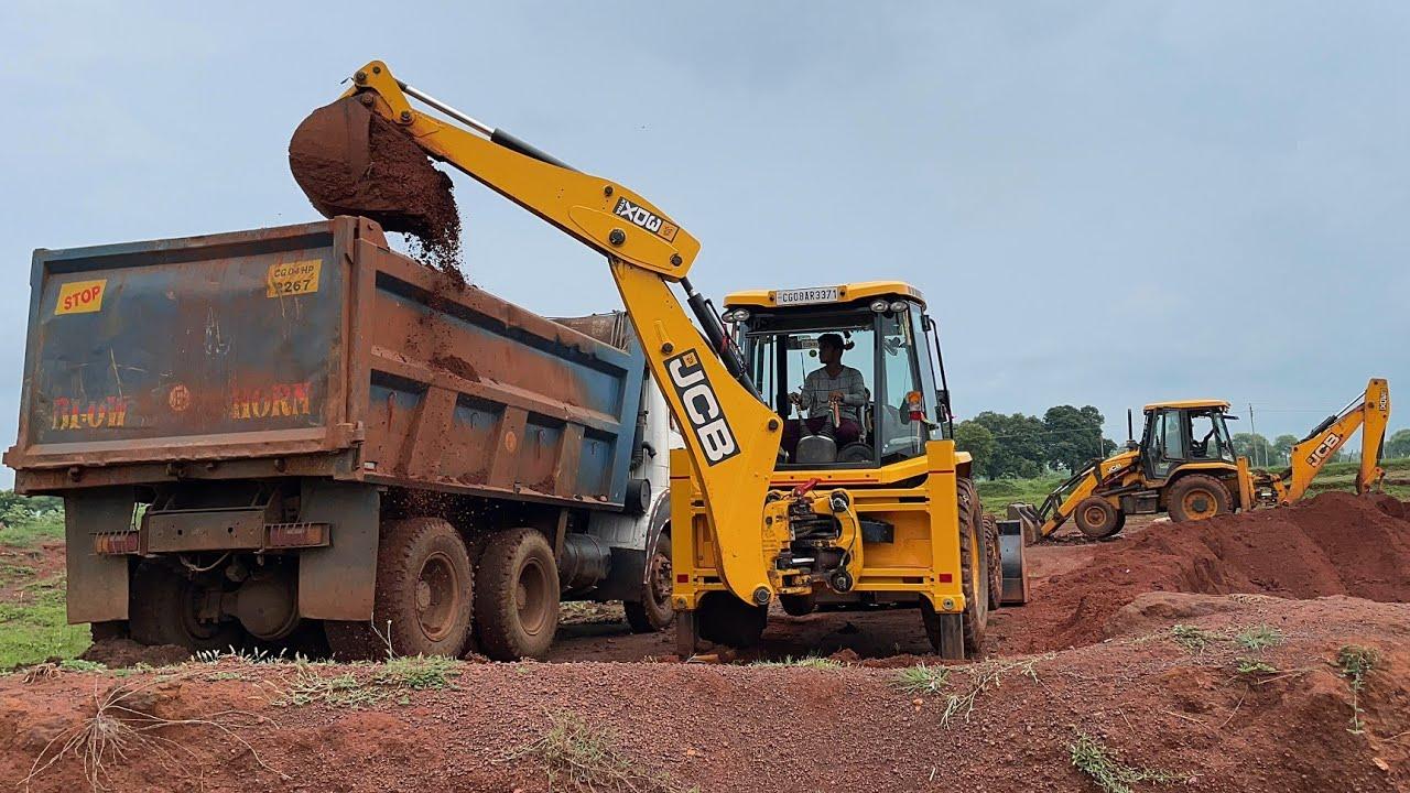 Two JCB Backhoe Loading Red Mud in Tata Truck | JCB Video | JCB Loading Video