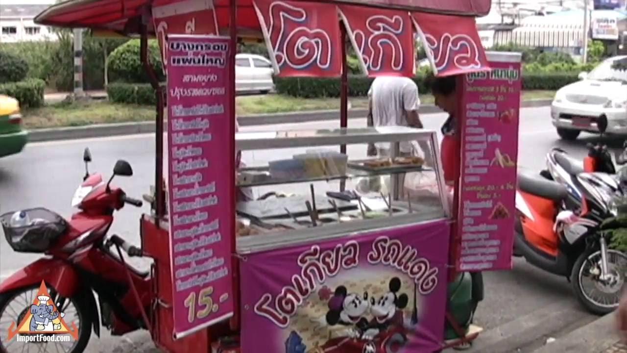 Motorcycle Food Cart  Thai Street Vendor Pancakes  YouTube