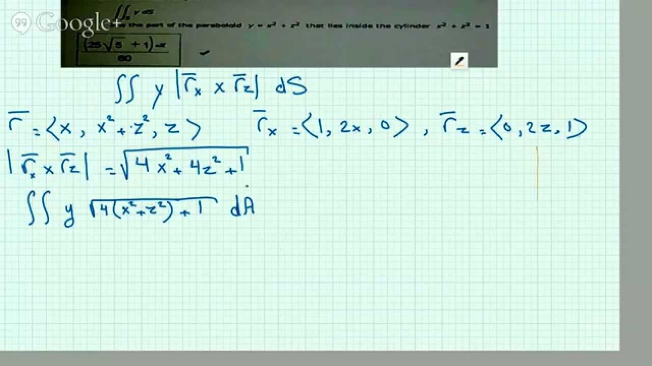 Evaluating Surface Integral over a Paraboloid Lying in a cylinder