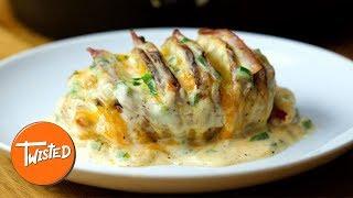 How To Make Sloppy Joe Cheesesteak Hasselback Potatoes | Twisted