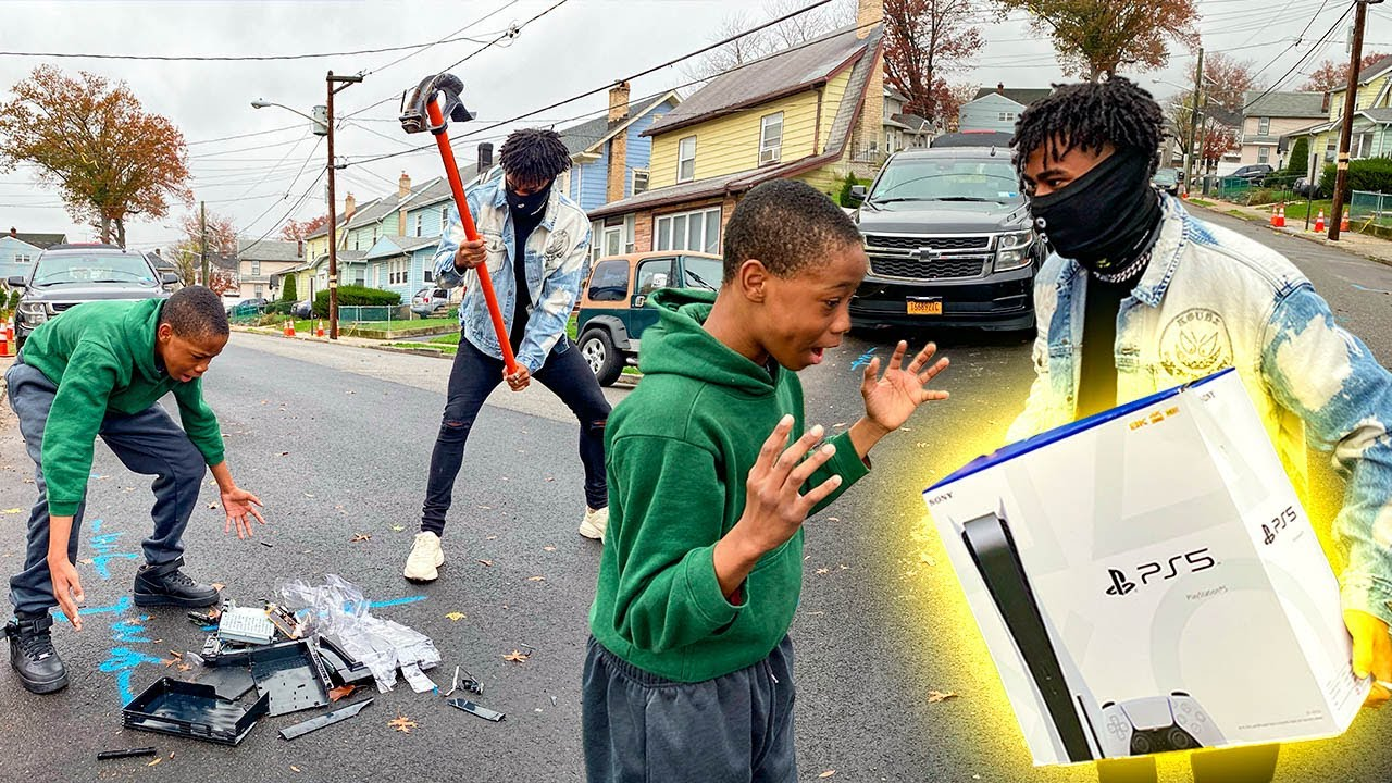 Download Destroying Kids PS4 in the hood & Surprising With A PS5 !!! (HILARIOUS)