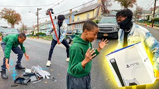 Destroying Kids PS4 in the hood & Surprising With A PS5 !!! (HILARIOUS)