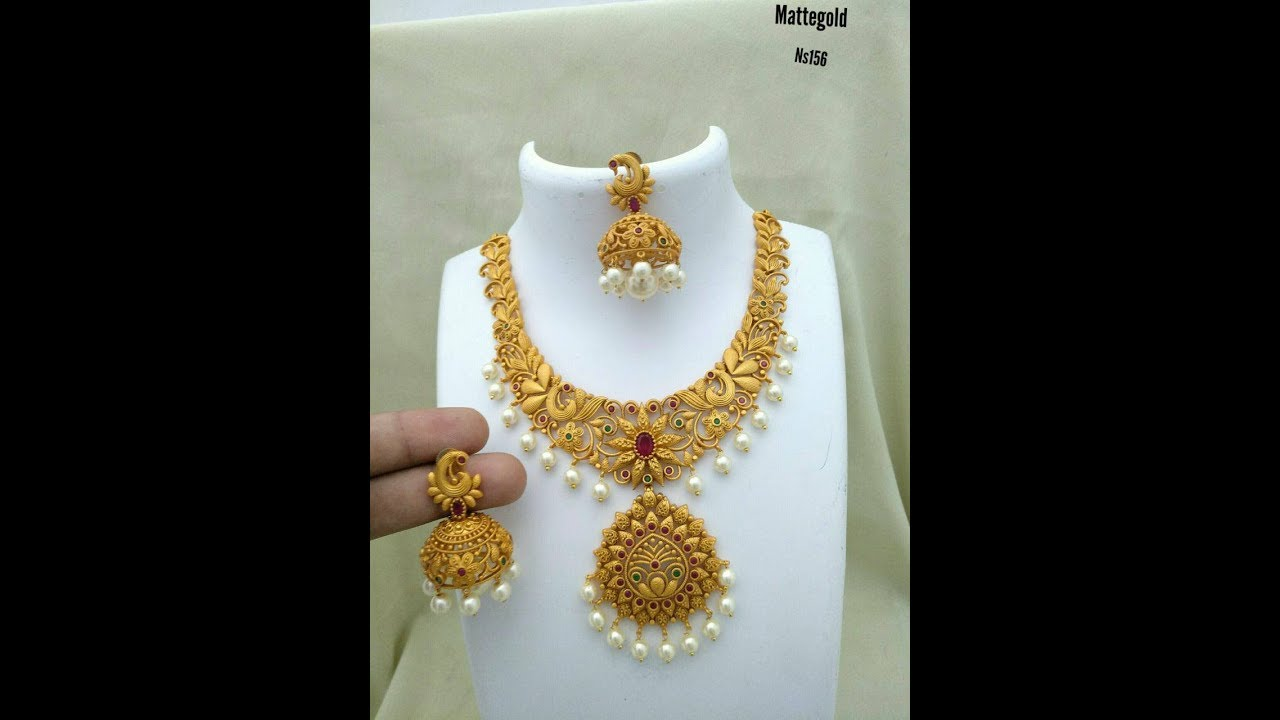 New Trendy One Gram Gold Simple Pearl Necklace Designs - YouTube
