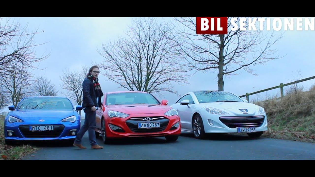 Subaru BRZ Hyundai Genesis Coup og Peugeot RCZ  Gruppetest