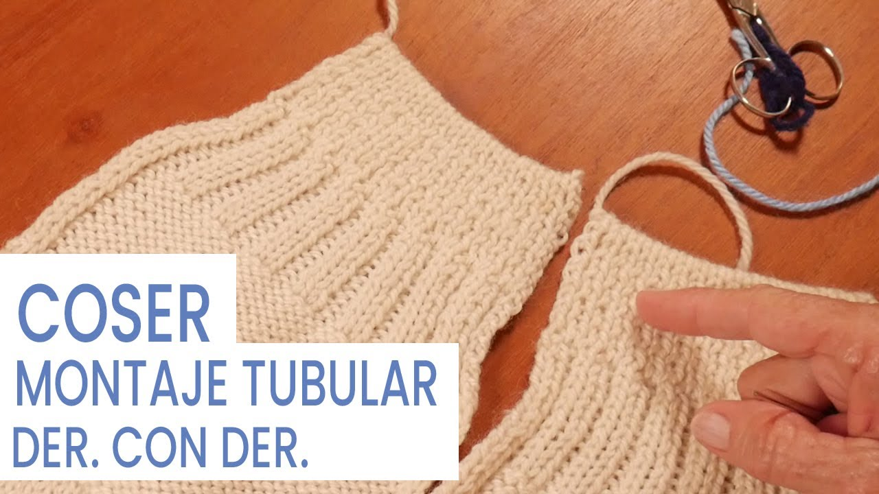 Costuras: Coser elástico 1y1 con montaje tubular 🧶 Tejer con Lucila
