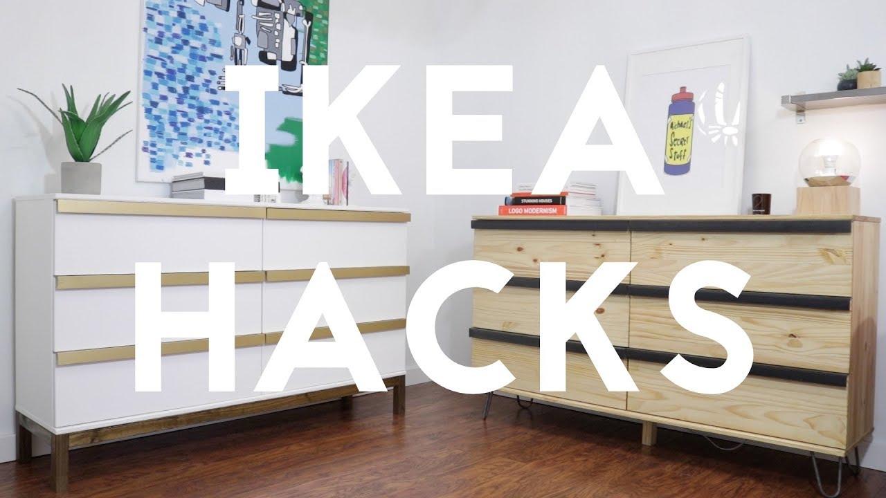 Ikea Malm Credenza : Diy modern dresser ikea hack tarva youtube