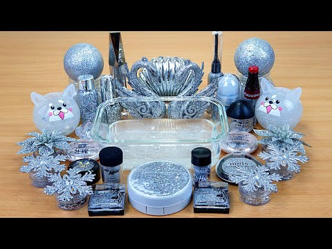 SILVER GLITTER SLIME Mixing Makeup And Glitter Into Clear Slime Satisfying Slime Videos