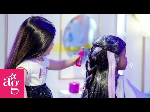 Galaxy Glitter Hair At The Doll Salon | Dolled Up With American Girl | American Girl