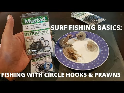 SURF FISHING BASICS:  Fishing With Circle Hooks & Prawn [ Fishing Sri Lanka ]