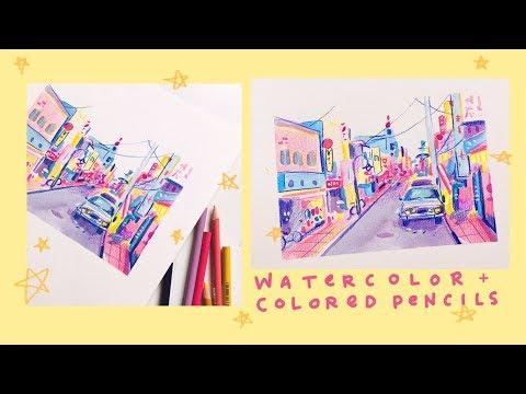 Watercolor + Colored Pencil - Street Landscape