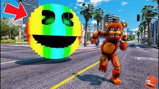 GIANT RAINBOW PACMAN vs ANIMATRONICS! (GTA 5 Mods For Kids FNAF RedHatter)