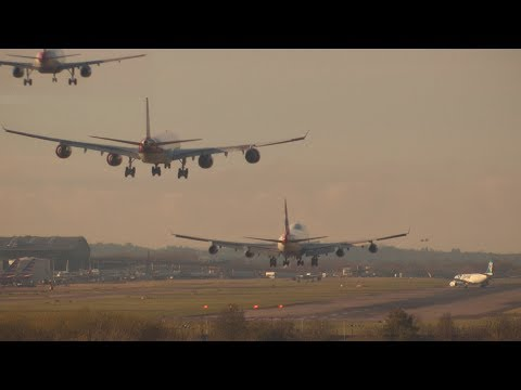 Landing Compilation London Heathrow Airport ATC 8th Dec13