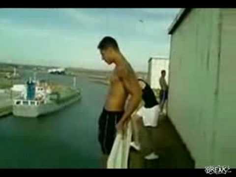 Crazy Kids Jump Off Oil Tanker