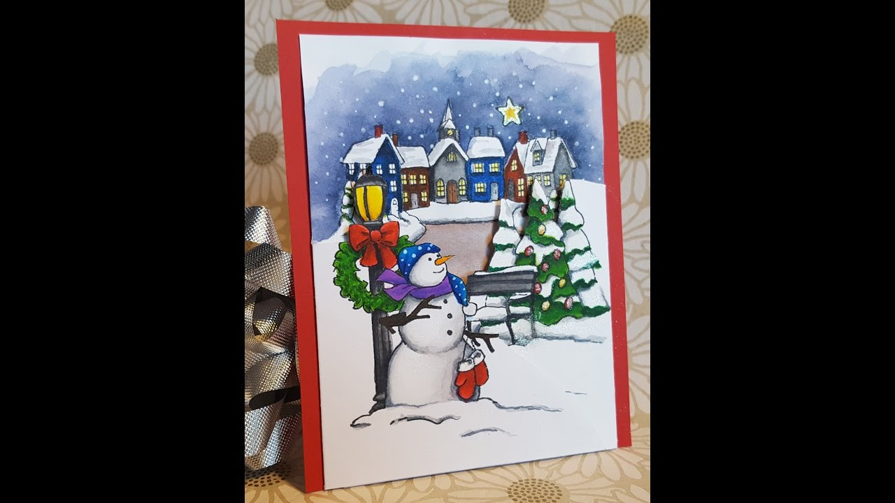 12 days of christmas cards day 3 christmas tri fold with zig clean color real brush markers - Tri Fold Christmas Cards
