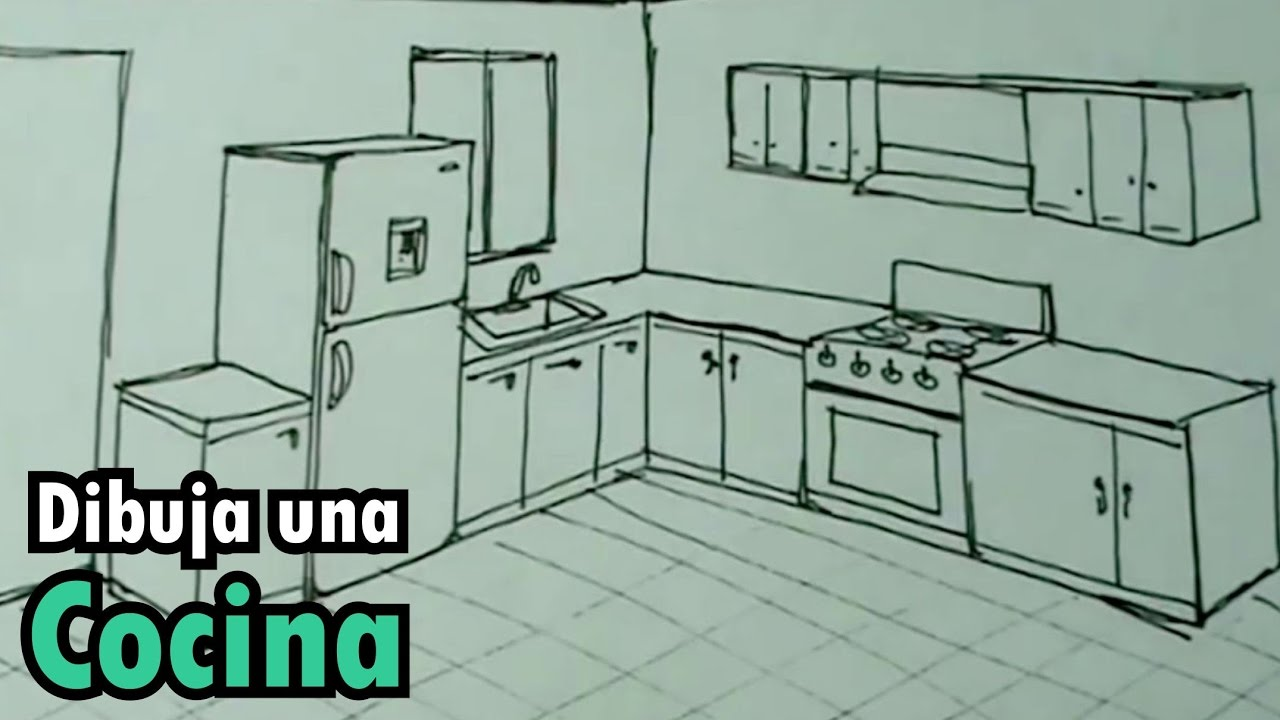Dibuja f cil una cocina con estufa y nevera drawing for Dormitorio para dibujar facil