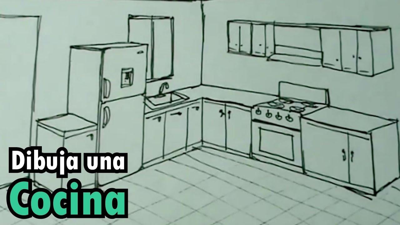 Dibuja f cil una cocina con estufa y nevera drawing for Comedor facil de dibujar