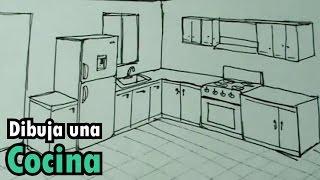 Dibuja fácil una cocina con estufa y nevera. Drawing Kitchen