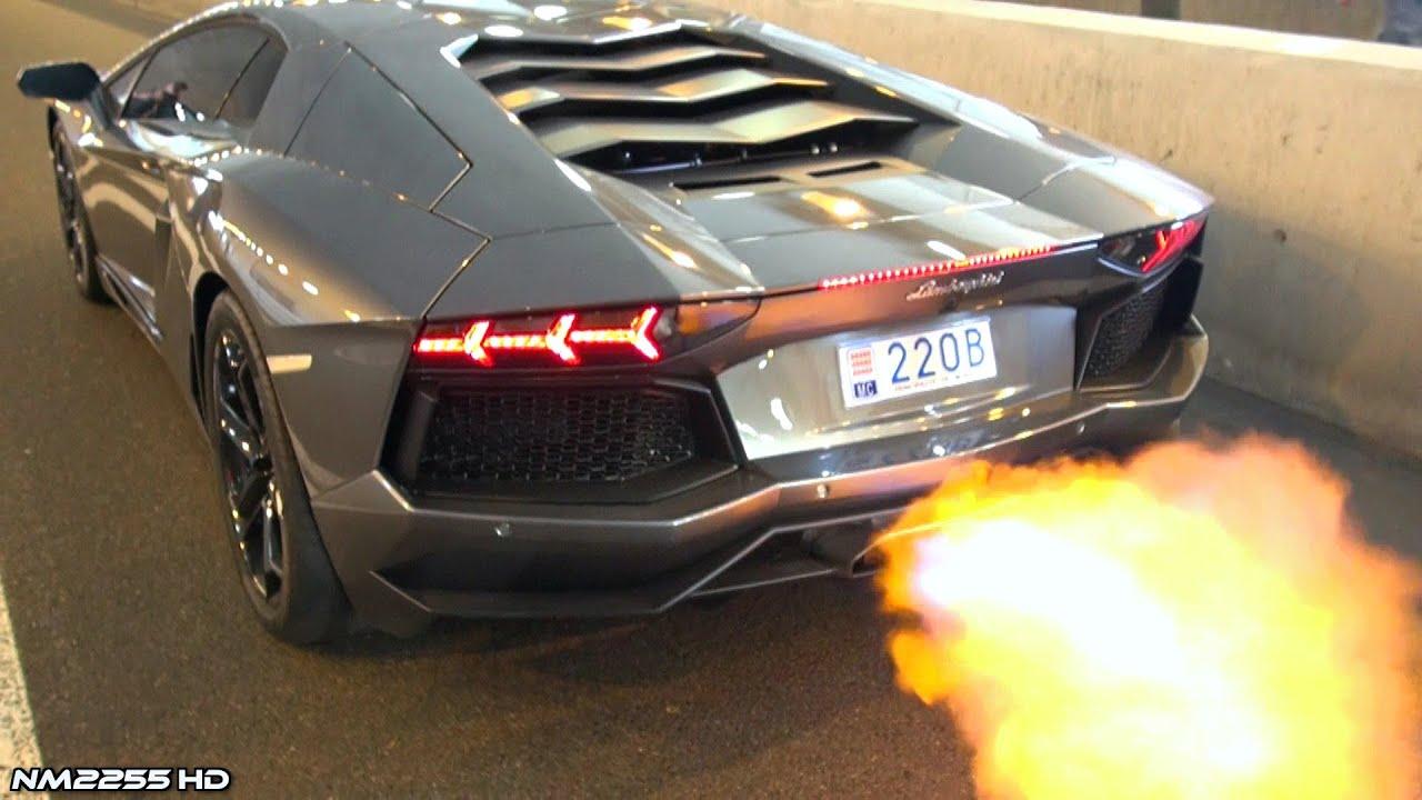 Lamborghini Aventador Shooting Huge Flames Youtube