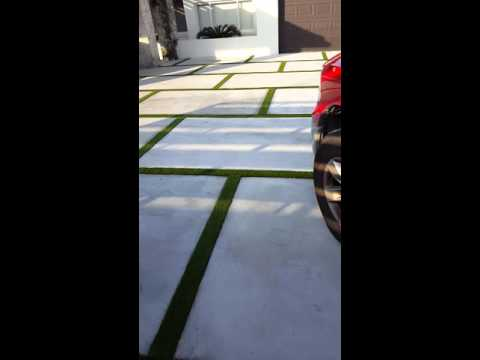 Artificial turf installation on drive way