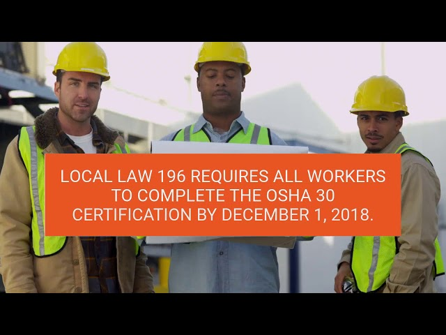 OSHA 30 Required By December 1
