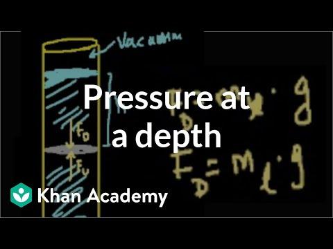 Pressure at a depth in a fluid | Fluids | Physics | Khan Academy