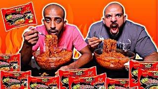 تحدي ١٥ نودلز كورية النارية x٢ -- والعقاب ؟؟ 🔥 Korean Spicy Noodles 15 Packs