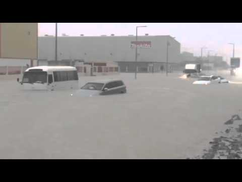 Cars stuck at a flooded street in Jebel Ali industrial area