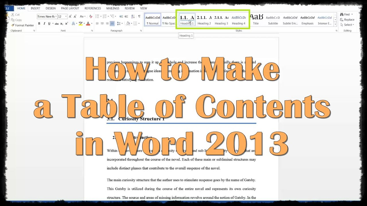 How do you add a contents page in word 2010 how to for Word 2013 table of contents template